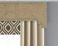Curtain Box Valance Gray Geometric Cornice Board Valance Window Treatment Custom