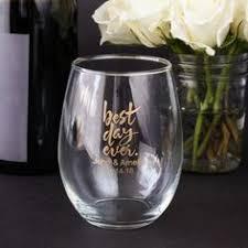 stemless wine glasses wedding favors personalized 9 oz stemless wine glass favors wine and glass