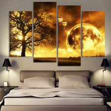 aliexpress com buy 4 panel ancient tree printed universe space