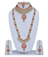 wedding necklace set red images Lucky jewellery designer pearl and stone red wedding bridal jpg