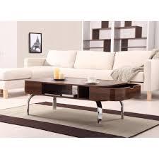 coffee table furniture of america lawson modern walnut 2 drawer