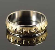 14k 5 8g engraved star two tone men u0027s wedding band yellow