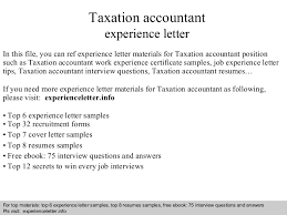 Sample Resume For Tax Accountant by Taxationaccountantexperienceletter 140822034830 Phpapp02 Thumbnail 4 Jpg Cb U003d1408679421