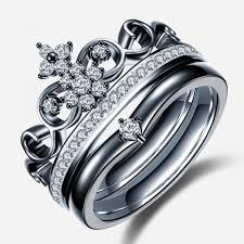 black engagement rings images Crown shape black diamond engagement ring evermarker jpg