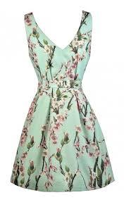 printed mint dress cherry blossom print dress cute a line dress