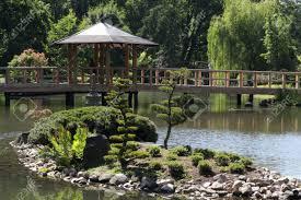 beautiful small japanese garden poland wroclaw stock photo