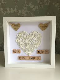 wedding presents wedding gift personalised button shadow boxes 3
