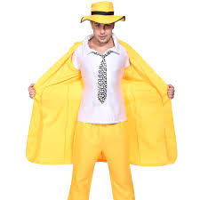 90s mens yellow gangster zoot suit the mask jim carrey fancy