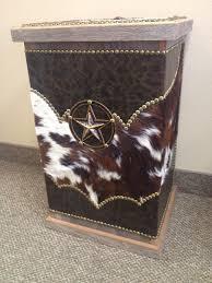 fancy western leather amd cowhide hamper western decor by