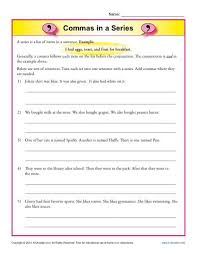 commas in a series comma worksheets