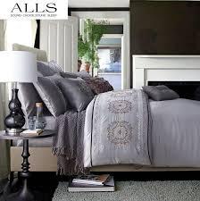 Embroidered Duvet Cover Sets Embroidered Bedding Set Washed Silk 100 Cotton Grey Bed Line