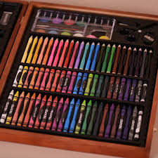 148pcs deluxe art set for kids with wooden case color markers