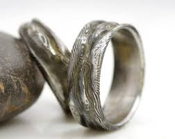 mens stainless steel wedding bands forged damascus stainless steel rings and jewelry by kredum