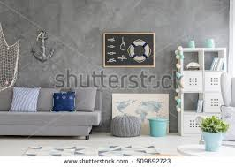 home interior wall decor modern designed room interior black wall stock photo 485226457