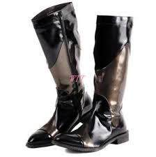 s high boots mens knee high boots side zipper patent combat boot army