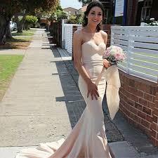 mermaid style sweetheart sweep train pearl pink elastic satin prom