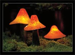 Solar Lighting For Gardens by Sculpted Mushroom Lights From Stone Manor Lighting Garden Art