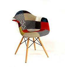 Patchwork Upholstered Furniture - new mcm fully upholstered arm shell chair wood leg apartment