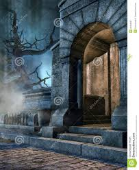 entrance to a cemetery crypt stock illustration image 44346937
