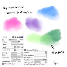 my watercolor brush settings paint tool sai by piplupcrazygirl on