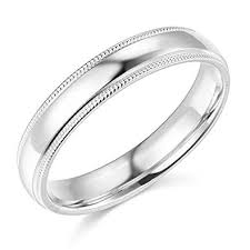 wedding band for women 14k yellow or white gold 4mm plain milgrain wedding