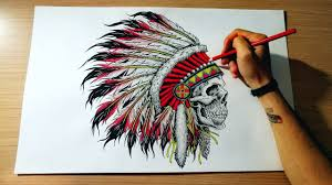 drawing skull indian native american headdress disegno grande