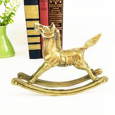 Equestrian Home Decor Vintage Solid Brass Rocking Horse Home Decor Equestrian Statue