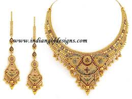 new gold set gold and diamond jewellery designs 22k gold bridal necklace set