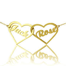 Gold Plated Name Necklace Valentines Gifts For Her Double Heart Name Necklace In Gold