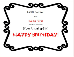 colorful birthday gift certificate template word u0026 excel templates