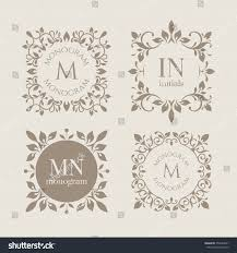 Wedding Invitations Hotel Accommodation Cards Floral Monograms Cards Invitations Menus Labels Stock Vector
