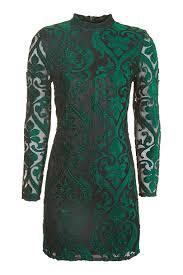 long sleeve velvet flock dress topshop