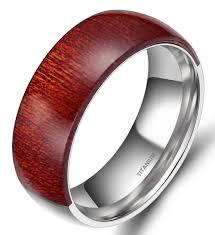 mens wedding bands wood inlay wood inlay ring men 8mm engagement wedding band mahogany wooden