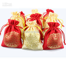 party favor bags cheap traditional small satin drawstring bags for wedding