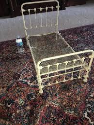 antique iron ornate bed salesman sample fleur de lis style