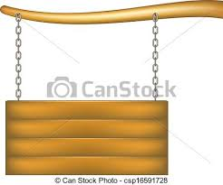 wooden sign board with chain hanging from the bough of a vector