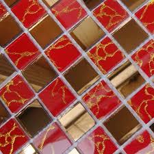 Wholesale Glass Mosaic Tile Squares Red Rose Pattern 304 by Vetro A Specchio Mosaico Rosso E Oro Specchio Piastrelle Su Rete