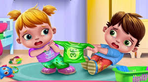 bad baby twins care game include bad baby messy toy room food