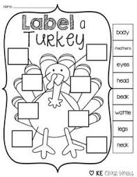 free label the turkey parts activity for november harvest time