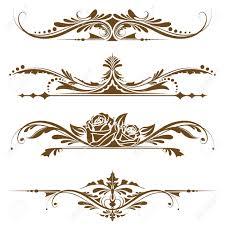 vintage design illustration of set of vintage design elements for page border