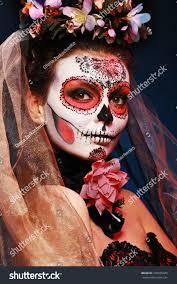 halloween make sugar skull beautiful model stock photo 160936445