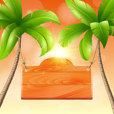 coconut tree and wooden boards vector free vector in adobe