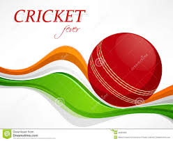 Cricket Flags Red Ball With Tricolor Waves For Cricket Fever Stock Image