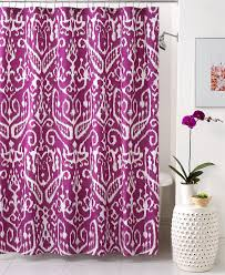 bathroom ikat shower curtain plus wainscoting and blue wall for