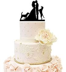 cake topper with dog with dog silhouette wedding cake topper groom