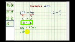 ex solve one step equations by mult and div whole numbers variable on right