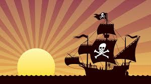 pirate ship sailing looping animation of pirate ship at sunset