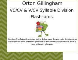 cv v vc orton gillingham vc cv v cv compound word flashcards tpt