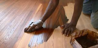 staining pine floors in the kuppersmith project house