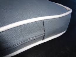 bench seat cushion grey gray white piping made to order custom